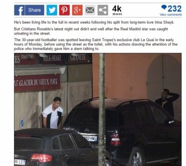 Cristiano Ronaldo caught uriner dans la rue en France