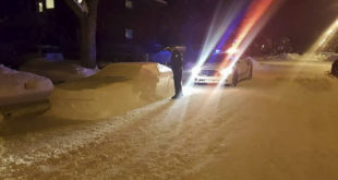 "Police fine car made of snow, ""Parked"" in a prohibited place!"
